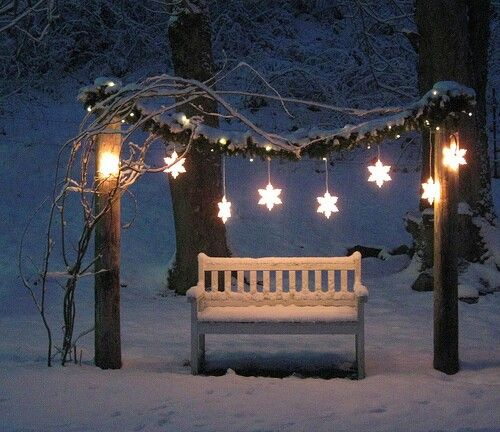 ..pretty romantic love seat for the garden Christmas lighting idea for all those festive couples pictures, engagement or winter wedding , la la land style photo booth