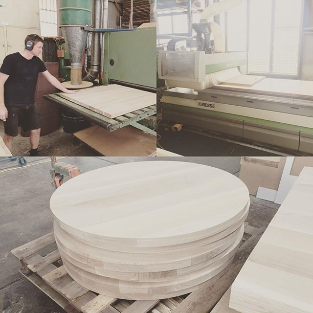 Bit of circle work on the big toys! Awesome day, very productive and fun as always. #furnituredesign #custommade #woodwork #cncrouter #makimaki #commercialfurniture #whiteoak #tabletops #brisbanemade