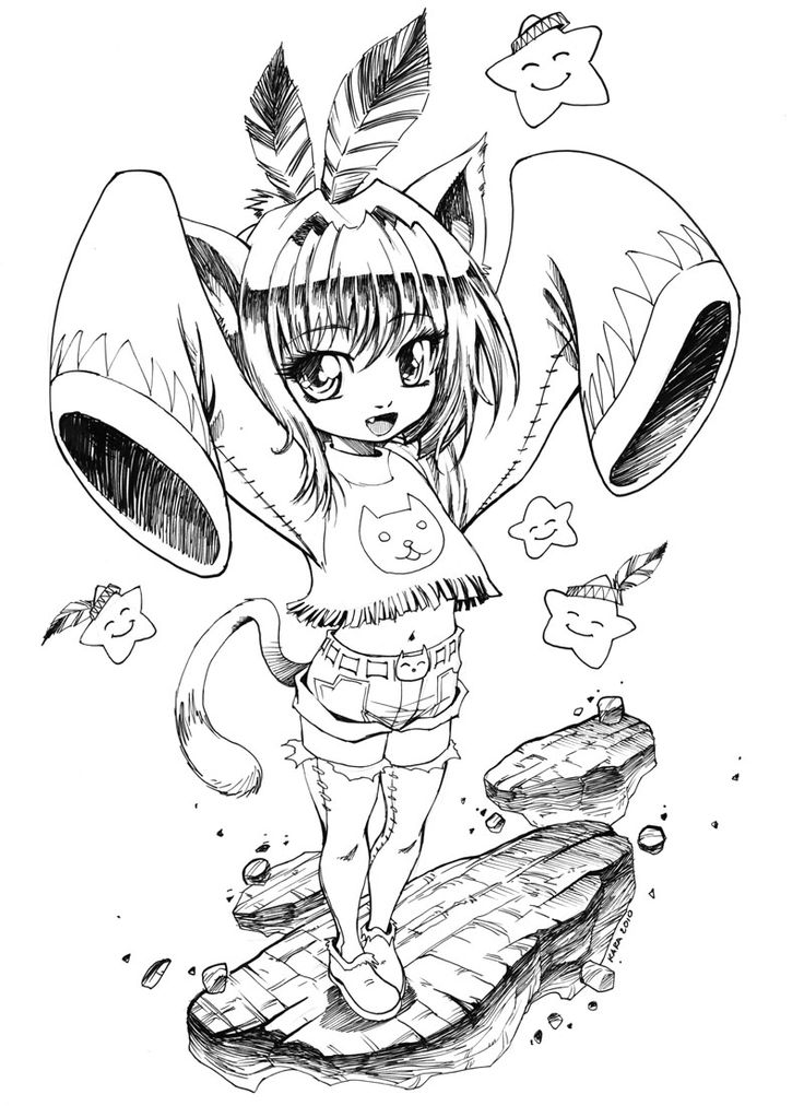 neko indian maiden by karafactory - Coloring Pages Anime Couples Chibi