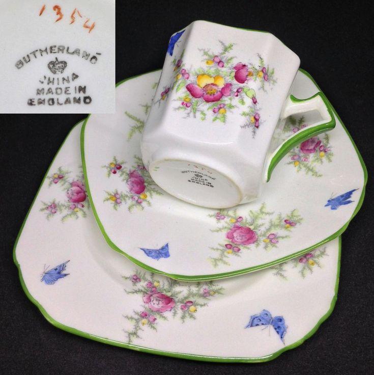 Sutherland c1920s 1354 Art Deco Square Green English Vintage Bone China Trio Set | Pottery, Glass, Pottery, Porcelain, Tea Pots, Trios | eBay!