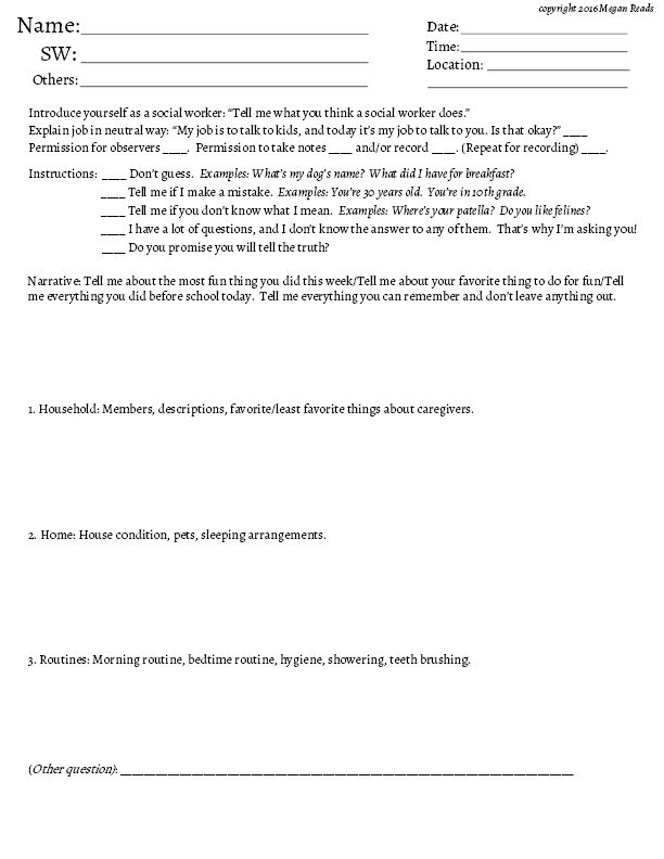 PRINTABLE CHILD INTERVIEW FORM FOR SOCIAL WORKERS. Helpful tool to assist in assessing for child neglect.