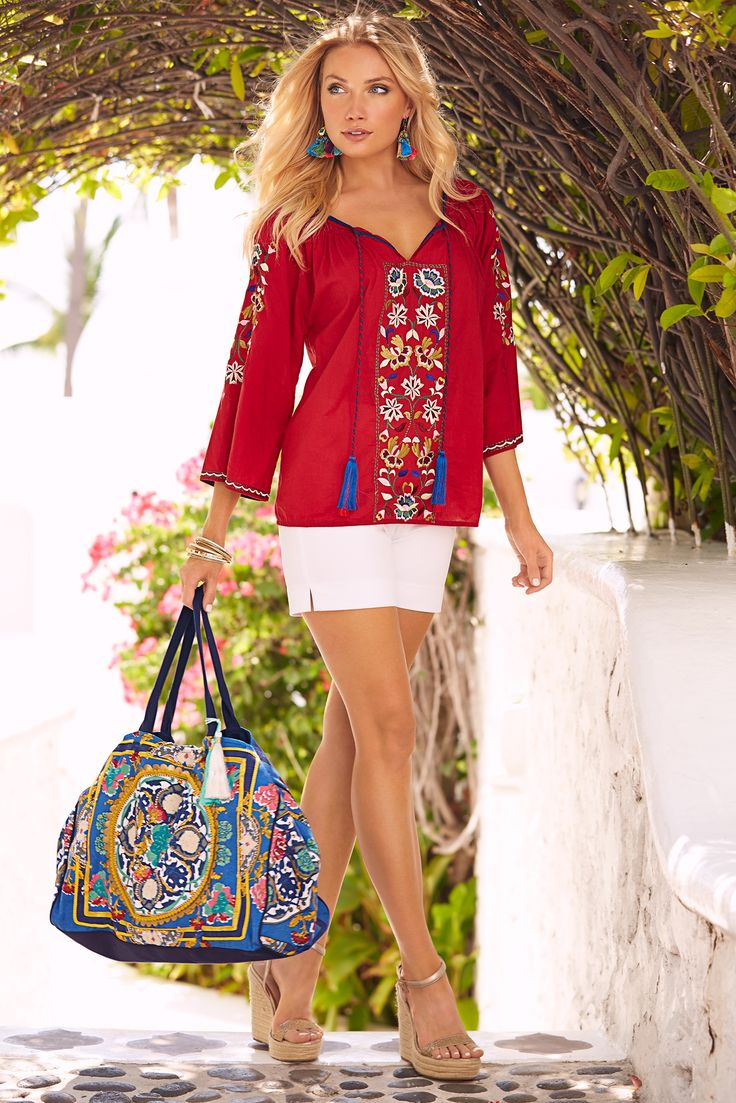 Boho Style | Women's Red Embroidered Blouse by Boston Proper.
