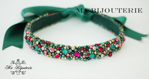 Emerald belt Green belt Swarovski belt Pearl belt Pink