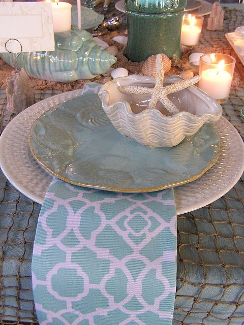 Beach tablescape, this is a great blog for table decorating ideas