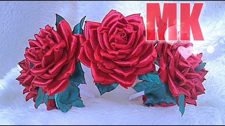 """Роза """"Амели"""" + МК ободок из роз / роза из лент /"""