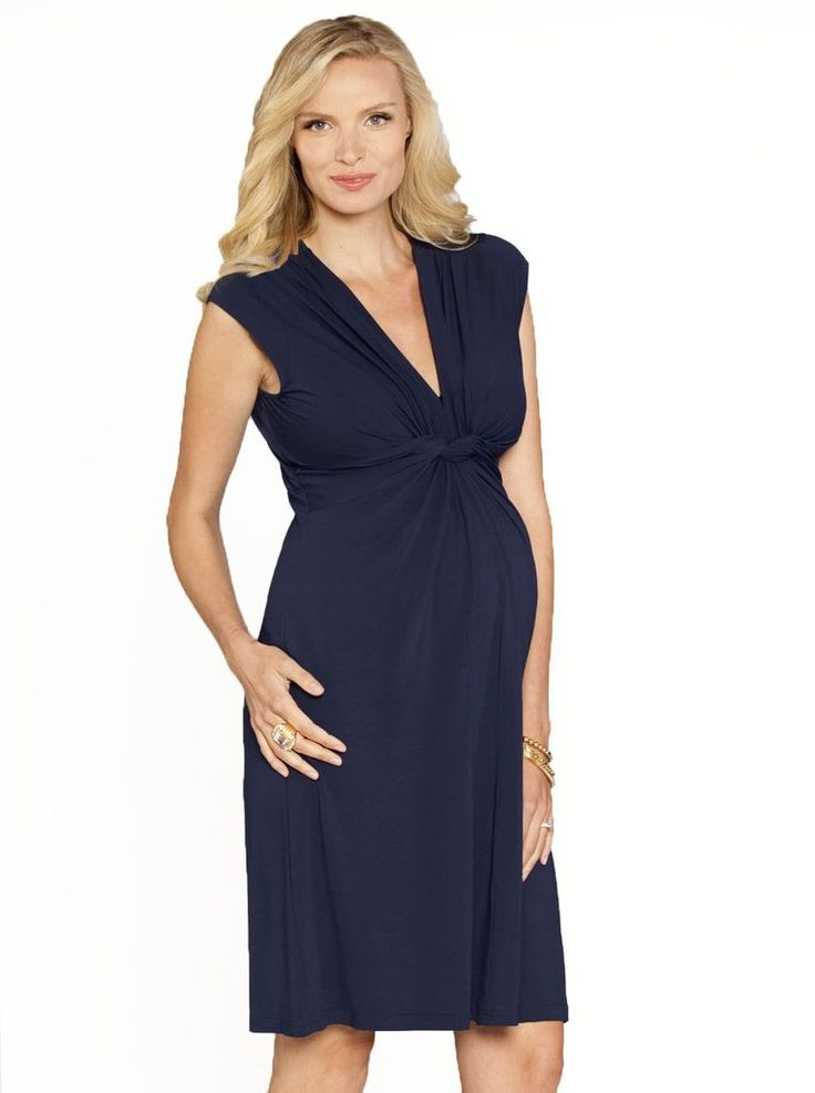 Irene's Knee Length Dress  Soft jersey fabric with knot front detail this maternity dress hugs you in all the right places with plenty of room. Featuring nice V neckline with lots of gatherings at shoulder and bust. Great from early pregnancy till after birth.  Fabric: 93.5% Rayon 6.5% SpandexStyle No. 8003SC