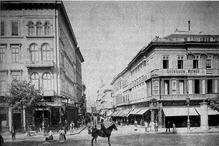 budapest 1890 | 1890 körül a szabályozás előtti, még keskeny Hatvani utca. A ...
