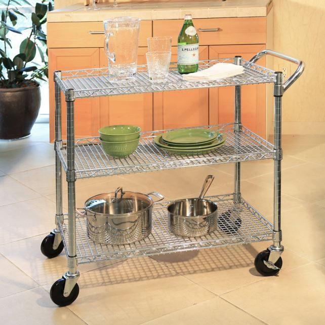 Kitchen Island Cart Rolling Utility Cabinet Storage Portable Serving Table New #SevilleClassics