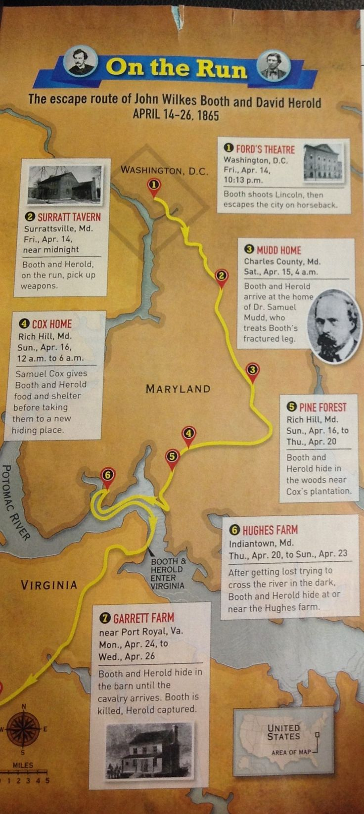 Escape route of John Wilkes booth and