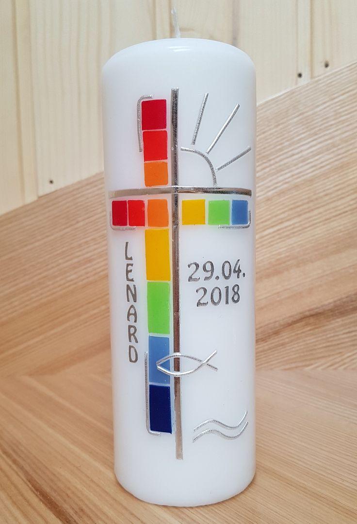 Regenbogen Kerze zur Taufe Kommunion Konfirmation