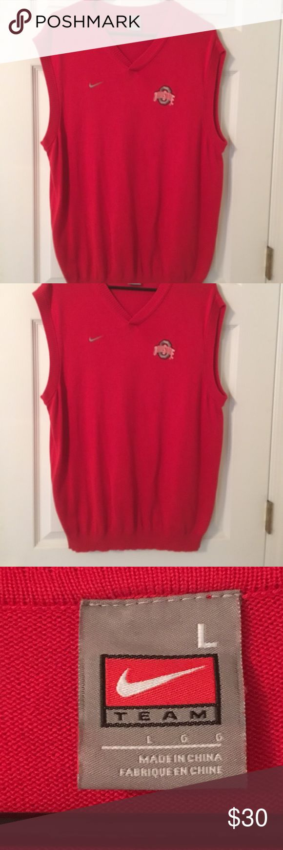 Men's Nike V neck Sweater Vest w Ohio St emblem. Red, pullover vest looks like Jim Tressel's. Nike Sweaters V-Neck