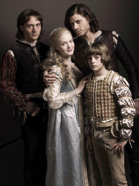 The Borgias, from left: Juan, Lucrezia, Cesare, little Gioffre (David Oakes, Holliday Granger, Francois Arnaud, Aidan Alexander)
