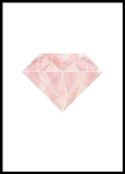 Grafisches Poster mit geometrischer Diamantenform in Rosa auf weißem Hintergrund. Wunderschönes Plakat, das ausgezeichnet mit unseren anderen grafischen Postern mit geometrischen Formen im modernen Stil kombiniert werden kann. www.desenio.de