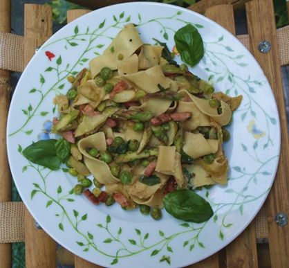spring pasta with zucchini ribbons