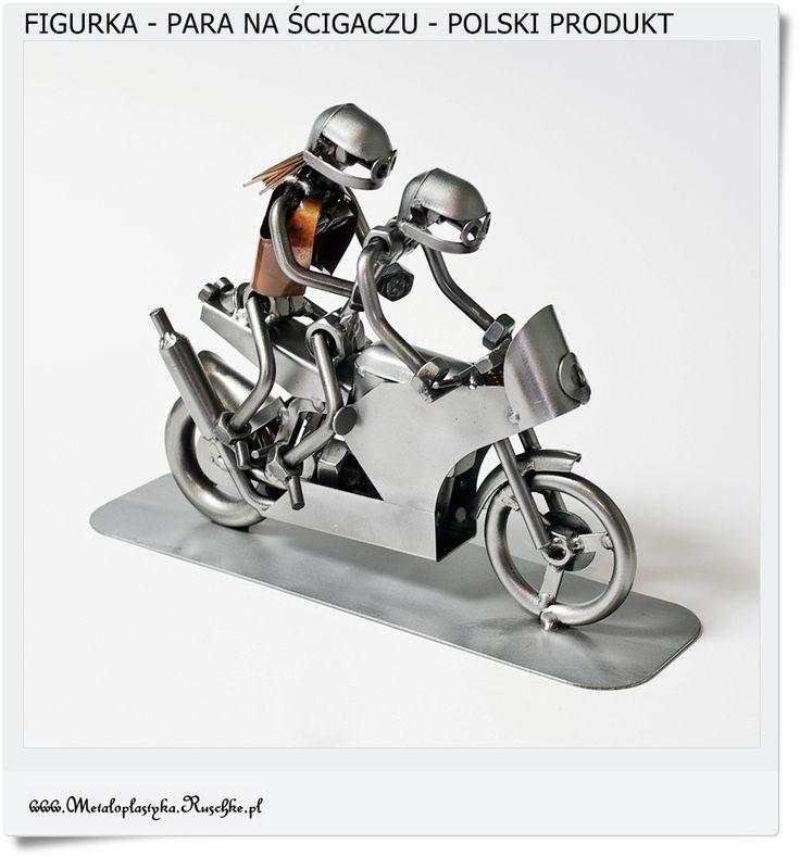 Zakochana para na motorze Metalowa figurka Polski produkt