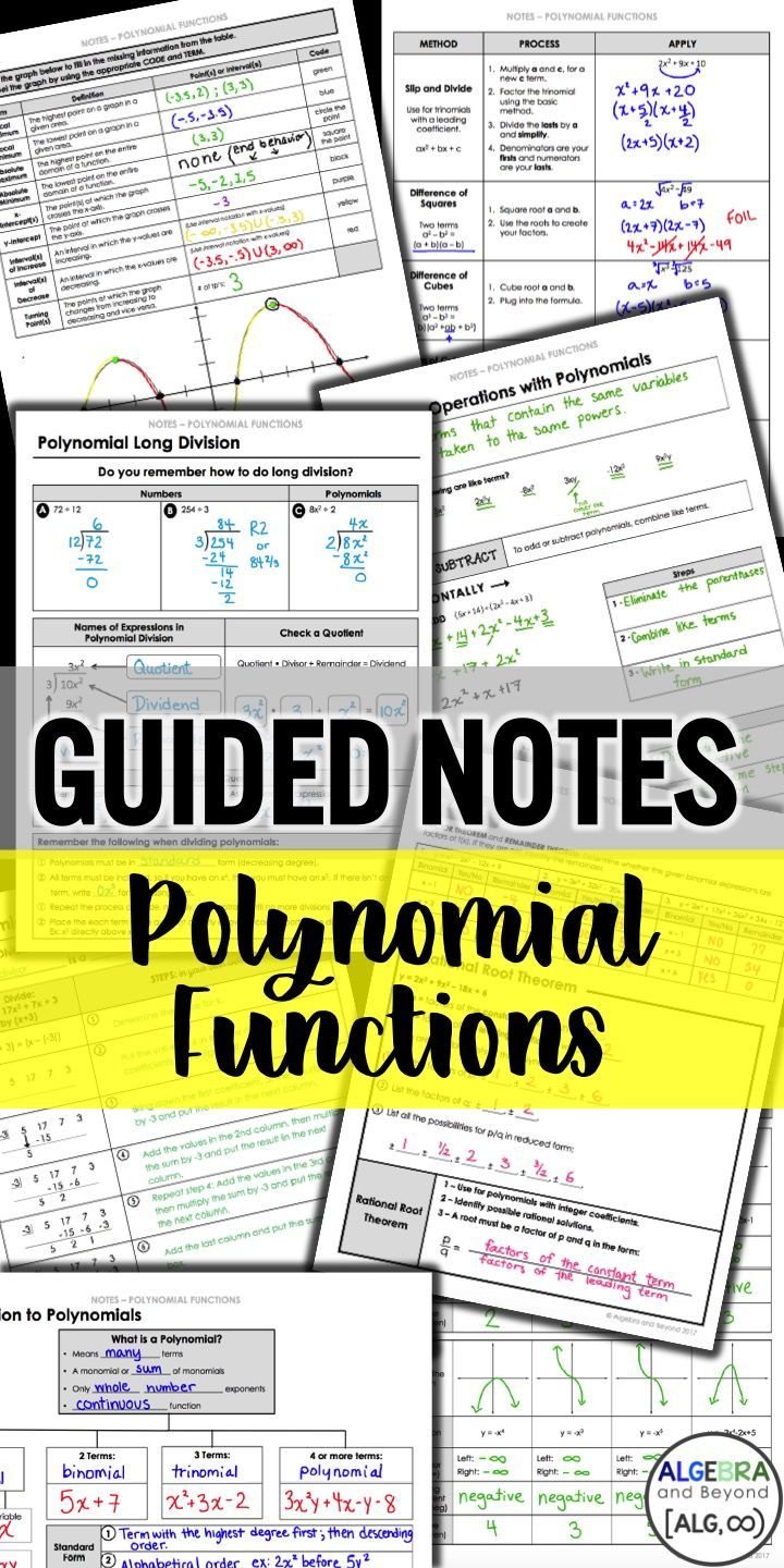 Guides notes, practice, homework, and activities for Polynomial Functions. Help your students understand algebra better with step by step notes! Polynomial topics include: graphs, operations, long and synthetic division, factoring, zeros, theorems, and more!