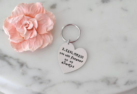 You Will Forever Be My Always Heart Keychain w/ Roman Numerals Special Date - Gift/Present for Him or Her for Valentine, Birthday, Christmas
