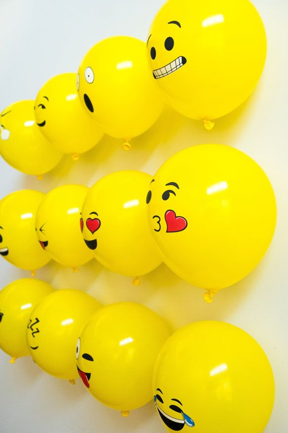 12 inch Emoji Latex Balloons with Smiley Face for by MarlinsPlace