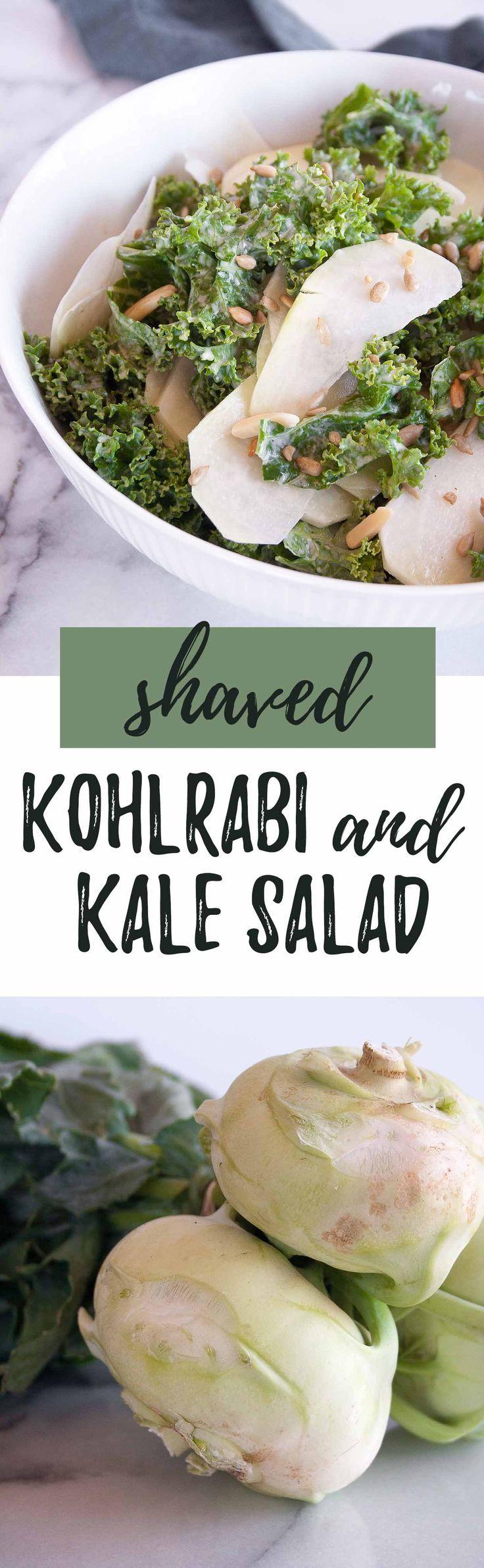Shaved Kohlrabi and Kale Salad with Lemon-Tahini Dressing   kohlrabi recipe, raw, spiralized, easy, healthy, gluten free, dairy free, paleo, vegan, whole30   hungrybynature.com
