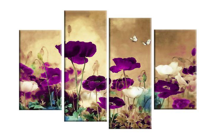 "PURPLE PLUM BEIGE CANVAS ART ORIENTAL FLORAL FLOWER SPLIT 4 PIECE PICTURE 40"" Purple"