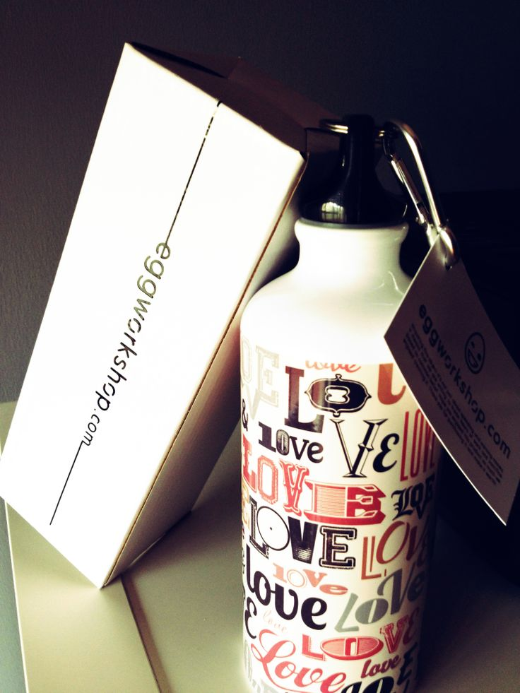 Retro Love Squeeze Water Bottle - #retro #Love #eggworkshop  available at www.eggworkshop.com