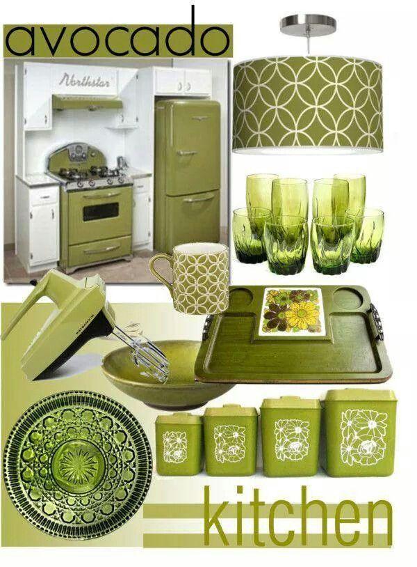 Vintage kitchen decor green images for Retro kitchen ideas 1970