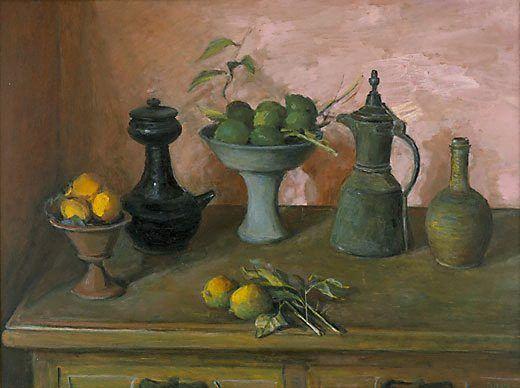Turkish pots and lemons, (1982) by Margaret Olley :(Australia 22 Jun 1923 – 25 Jul 2011)