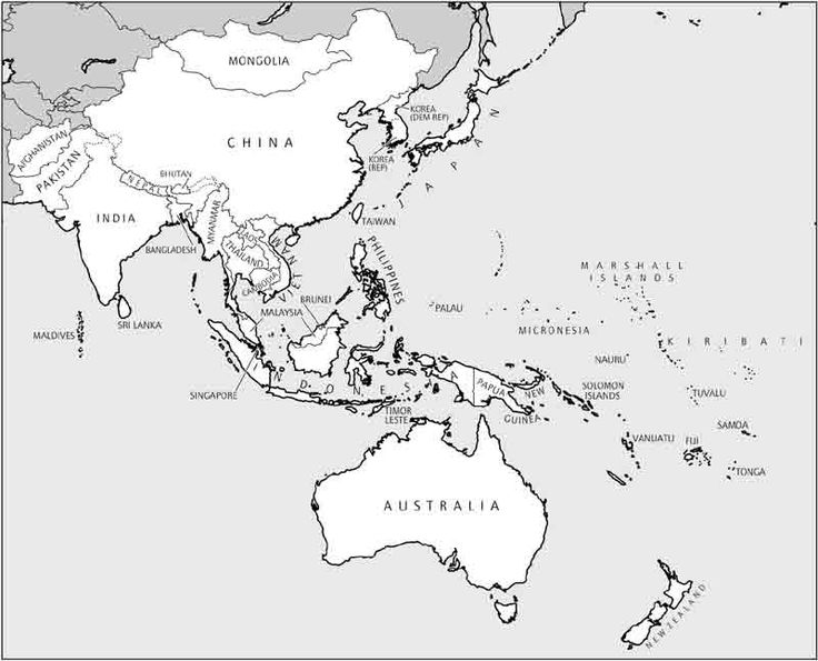 Blank Map Southeast Asia And Australia Blank Outline Map Of Asia - Asia blank map