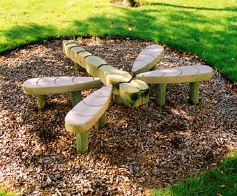 A dragonfly outdoor children's bench