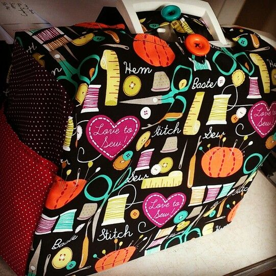My singer sewing machine cover in Michael Miller fabric...made to measure by me!