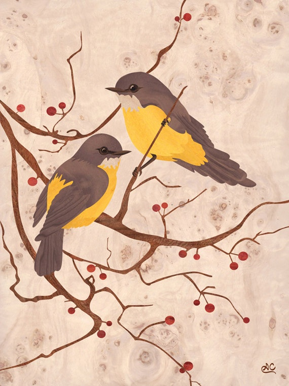 Birds  Wood Inlay Art  GICLEE PRINT on archival by amazoncanvas, $19.00
