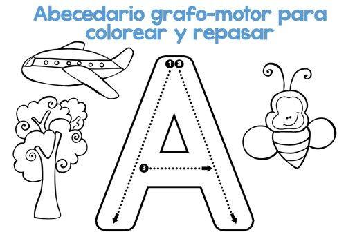 Completo Abecedario grafo-motor para colorear y repasar -Orientacion Andujar
