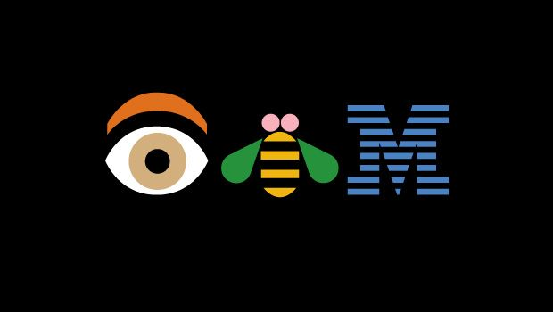 "Paul Rand's ""Eye Bee M"" rebus. HAPPY 100th BIRTHDAY IBM! ""Design is a plan for arranging elements in such a way as best to accomplish a particular purpose."" —Charles Eames"