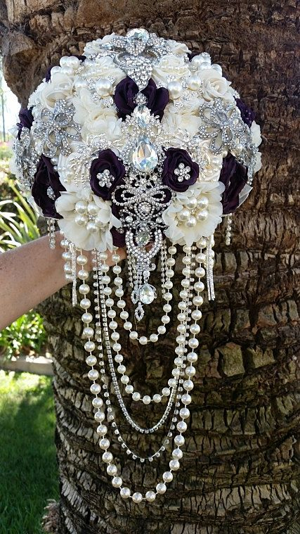 Custom Jeweled Cascading Bridal Brooch Bouquet, DEPOSIT ONLY, Custom Made Ivory…