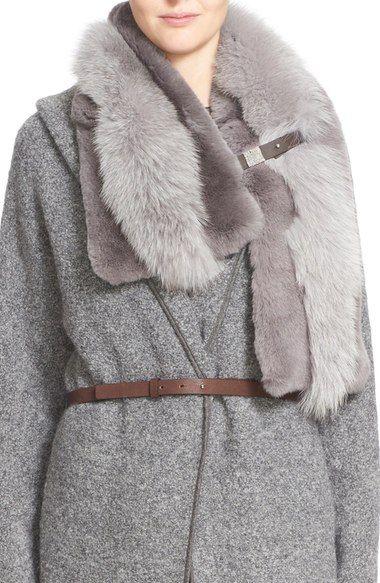 Fabiana Filippi Genuine Rabbit & Fox Fur Scarf available at #Nordstrom