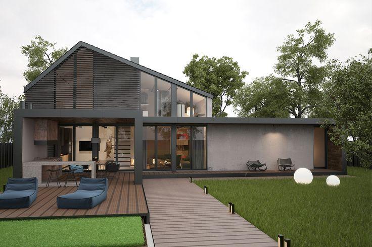 Фасад загородного частного дома для отдыха: микроцемент и hpl панели. Перед домом находится крытый бассейн и участок с современным минималистичным ландшафтом.  Работа: дизайнеры студии интерьера Zooi