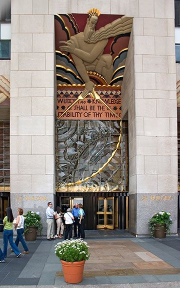 U.S. The Art Deco artwork at the entrance to the GE (RCA) Building  at Rockefeller Center, NYC, early 1930s