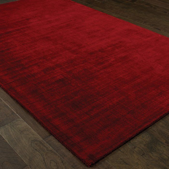 Grimes Plush Hand-Tufted Red Area Rug