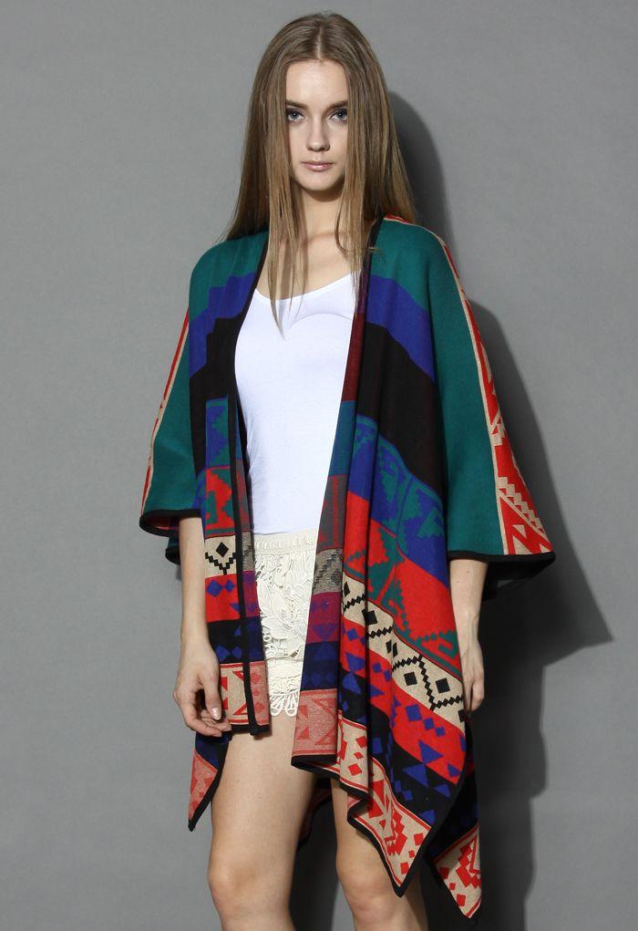 Aztec Color Block knor res  Poncho -