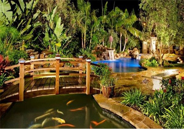 17 best images about bridge over pool on pinterest for Fish pond bridges