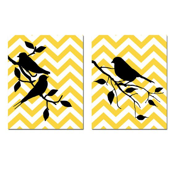 Chevron Birds  Set of Two 11x14 Prints  Art for by Tessyla on Etsy, $48.50