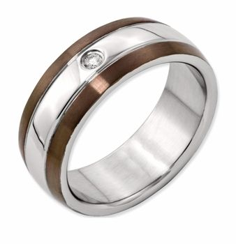 Men S Chocolate Stainless Steel And Diamond Wedding Band Promise Ring