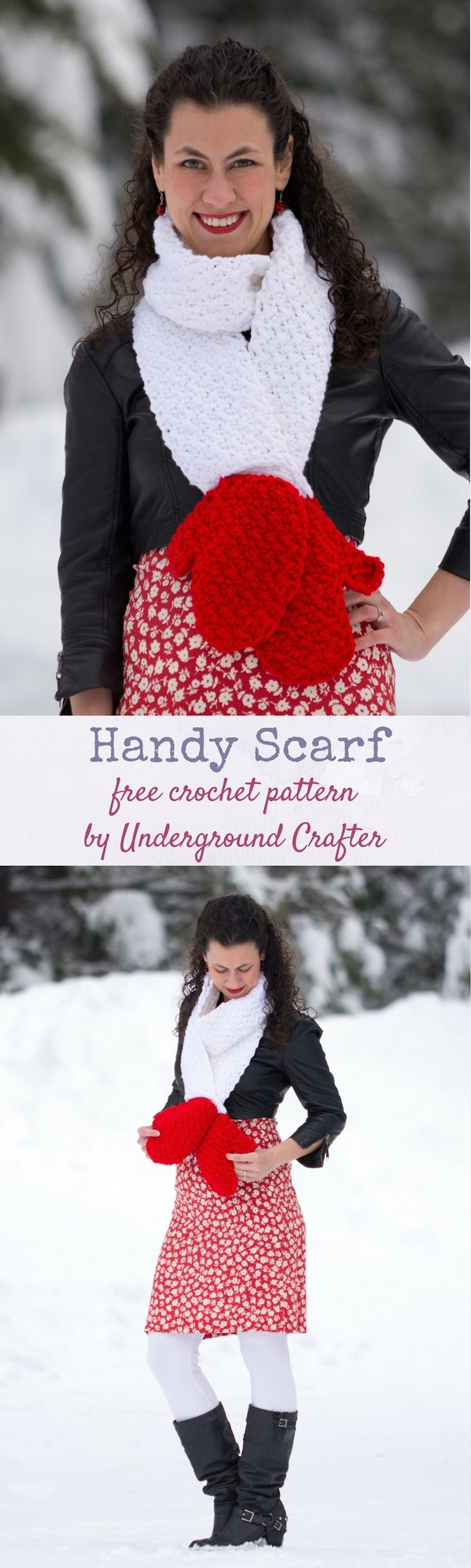 Free #crochet pattern: Handy Scarf in Red Heart Super Saver #yarn by Underground Crafter | This cozy keyhole scarf features two mock mittens at the end. This pattern is part of the Crochet Charity Drive with Blackstone Designs. Find the Crochet Charity Drive group on Facebook! #crochetcharitydrive #redheartyarns #joycreators #redheartsupersaver