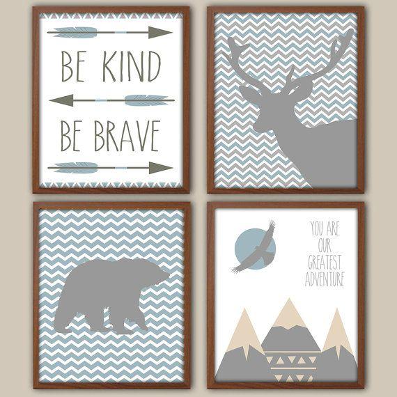 Baby Boy Nursery Art - Slate Blue And Gray Nursery - Nursery Quote - Chevron - Stag Nursery Art - Bear - Adventure - Tribal Nursery Decor