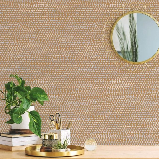 Tempaper 28 Sq Ft Toasted Turmeric Vinyl Polka Dot Self Adhesive Peel And Stick Wallpaper Lowes Com Removable Wallpaper Peel And Stick Wallpaper Black And White Wallpaper