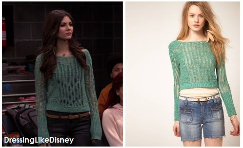 Victoria Justice wears a cropped Free People crocheted sweater with XL sleeves on Victorious (winter 2012)