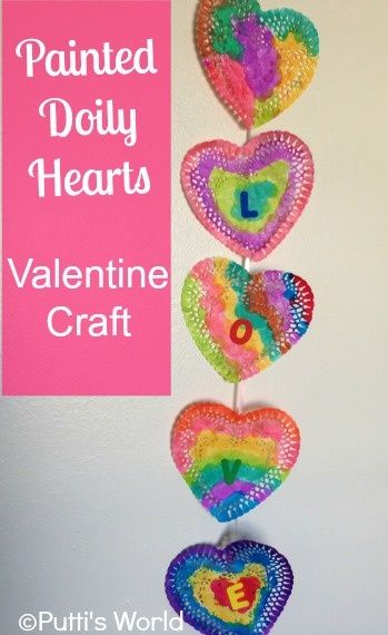 Use dot markers to paint paper heart doilies - can be used as window/wall deco or a garland!