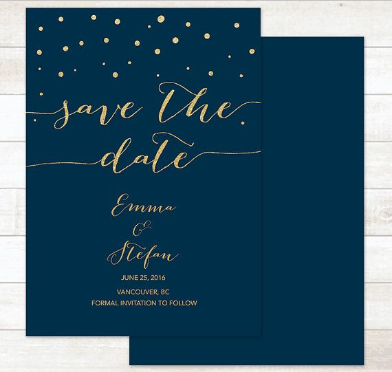 navy gold save the date card gold glitter by pinkdahliaprintable