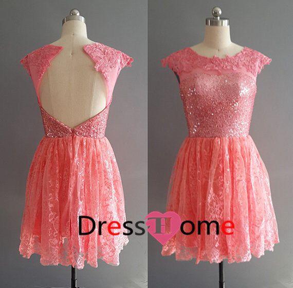 Coral Prom Dress  Short lace Prom Dress
