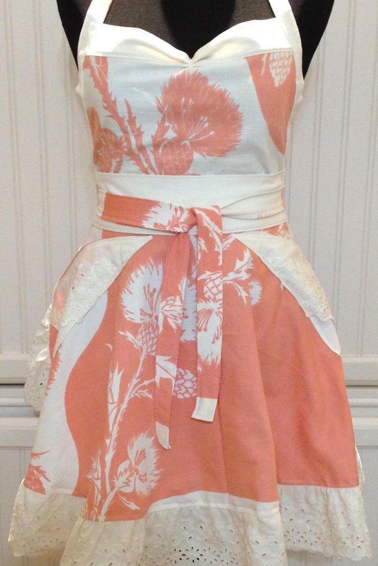 Vintage linens women full apron - vintage orange cream tablecloth  -  circle skirt - cream eyelet lace ruffle hem - ruched bodice by Littlebirdproductset on Etsy